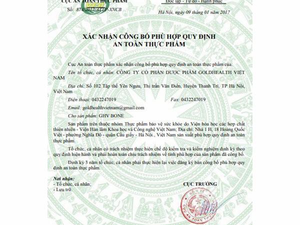 GHV Bone đủ tiêu chuẩn chất lượng lưu hành tại Việt Nam